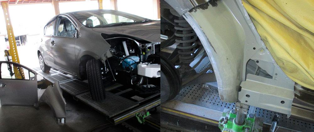 車フレームのミリ単位の調整